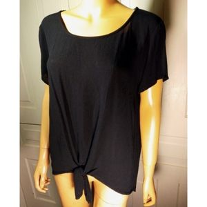 Soft beachy rayon tie front knot top airy crepe